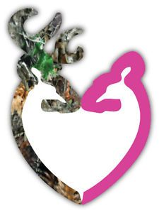 "Browning Heart Camo and Pink Car Bumper Sticker Decal 4"" x 5"""