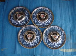 "1963 1964 Ford Falcon and Fairlane Car Wheel Cover 13"" Set of Four with Spinners"