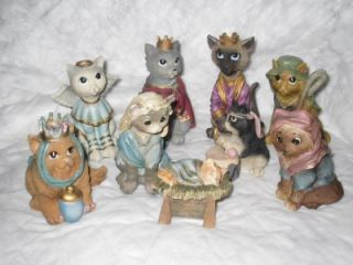 New 9pc Set Kitten Cat Nativity Holiday Religious Theme Figurines Item 76132