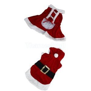 Pet Puppy Dog Christmas Santa Claus Style Costume Outfit Clothing Coat Apparel