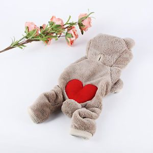Soft Pet Dog Clothes for Winter Teddy Bear Fleece Jumpsuit Costume Warm Hoodie