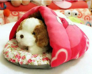New Small Half Covered Pet Dog Cat Bed Soft Warm Cotton House Cute Sleeping Bag