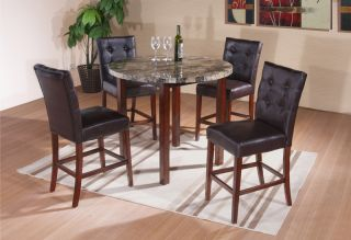 Kings Brand Faux Marble Round Dining Room Kitchen Pub Table Chairs New