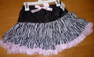 Girls Pink Black Zebra Print Pretend Play Costume Tutu Dress Up Skirt Ruffle