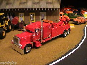 Built DCP 379 Pete Flat Top Cab Semi Tow Truck Wrecker 1 64 Custom Parts Red