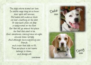 Personalized Pet Memorial Photo Dogs Who Shared Poem for Pet Loss Sympathy
