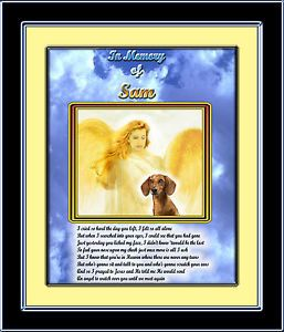 Pet Memorial Dachshund with Angel Personalized w Pet's Name Poem Unique Gift