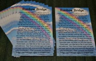 Rainbow Bridge Poem Pet Memorial Quantity 10 Cards