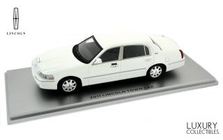 1 43 2011 Lincoln Town Car White Model by Luxury Collectibles Hand Built