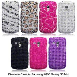 Diamante Case for Samsung Galaxy S3 Mini Zebra Black Pink Hearts Purple Silver