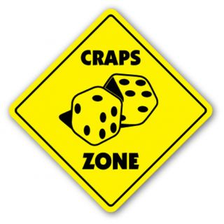 Craps Zone Sign Casino Game Dice Card Room Gambling Gambler Vegas Dealer Table