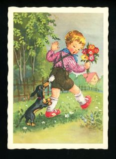 Dog Postcard Dachshund Puppy w Child Walking Kruger