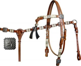 New Showman Headstall Breast Collar Rawhide Barrel Racer Nickel Conchos