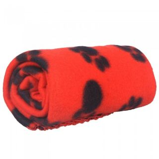 Cute Pet Dog Cat Blanket Soft Fleece Mat Bed Cover with Dog Paw Prints 3 Colors
