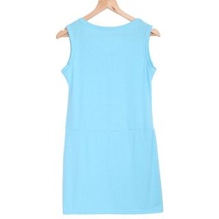 S M L Women's Crew Neck Sleeveless Chiffon Dress Casual Mini Summer Sundress