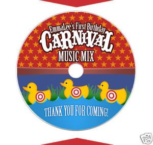 6 Carnival Birthday Party DVD Music CD Labels