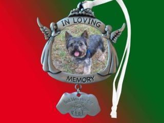 Pet Memorial Pewter Frame Christmas Ornament Optional Engraving Dog Cat