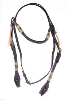 New Western Leather Horse Headstall Bridle Rawhide Wrapped Black Tack