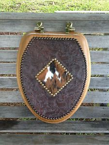Elongated Toilet Seat w Exotic Cowhide Lid Rawhide Western Decor Bathroom