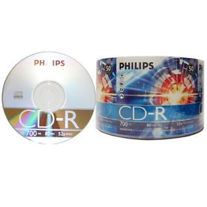 50 CDMRPHLB CD Recordable Discs Philips Logo Branded CD R 700MB CDR Data Audio