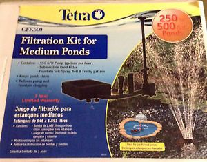 New Tetra Filtration Kit Medium 250 500 Gallon Outdoor Fish Ponds CFK500 Pump