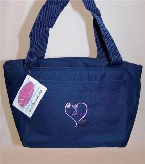 Puppy Dog Kitty Cat Kitten Paw Prints Heart Navy Lunch Pail Cooler Tote Bag