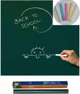 Green Chalk Board Wall Sticker Memo Art Removable Decal 200x45cm 5 Free Chalks