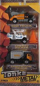 Tonka Metal Diecast Bodies 3 Pack Tow Truck Cherry Picker Sanitation Truck