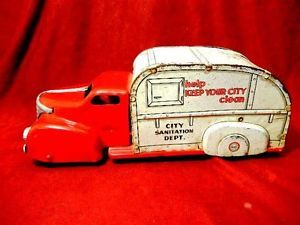 Vintage Pressed Steel Marx City Sanitation Truck in A Very Unusual Color