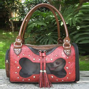 Faux Red Leather w Bone Window Pet Carrier Small Dog Cat Airline Tote Purse Bag