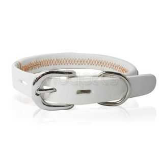 "8 11"" Genuine Real Leather Gemstone Pet Dog Collar White XS Small"