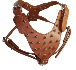 "Spiked Leather Dog Harness Boxer Pitbull 26"" 34"" Chest Size Amstaff"
