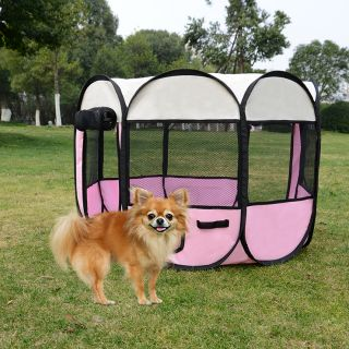 "2 Door 35"" Pet Puppy Exercise Playpen Dog Cat Folding Kennel Crate Fence Pink"