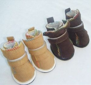 Warm Cozy Pet Dog Boots Puppy Shoes 2 Colors for Winter for Small Dog Size 1 5