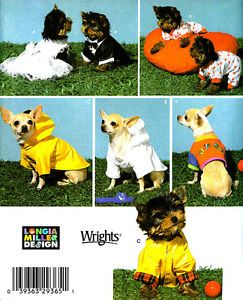 OOP Make x Small Dog Clothes Tuxedo Raincoat PJs Sewing Pattern Simplicity 4325