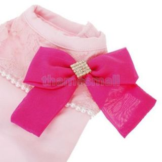 Pet Dog Princess Lace Shirt Clothes Clothing Apparel w Bowknot 3Colors U Pick