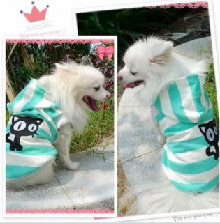 Blue Pink White Hooded Sweater Coat Pet Small Dog Cat Clothes Pet Puppy Clothes