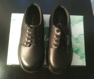 Clarks Clark School Shoes Childrens Kids Boys Girls Black Leather Lace Up BNIB