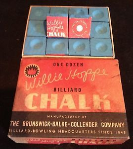 Antique Brunswick Balke Collender Willie Hoppe Box of Billiard Pool Cue Chalk