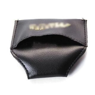 Black Soft PU Leather Pool Billiards Cue Chalk Clip Holder Case