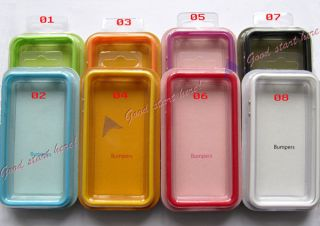 1 8 Clear Bumper Frame Case Cover Skin Case w Side Buttons for iPhone 4S 4G 4