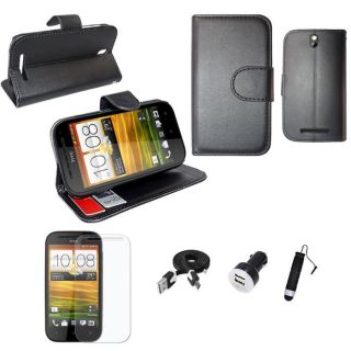 Black for HTC One SV Flip PU Leather Case Screen Film Stylus Micro USB Charger