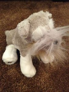 Webkinz Schnauzer Grey White Dog Ganz Plush Stuffed Animal HM159 Retired