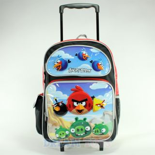 "Rovio Angry Birds Scene Red 16"" Roller Backpack Book Bag Rolling Girls Boys"