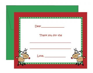 Childrens Kids Flat Fill in Reindeer Christmas Thank You Note Cards