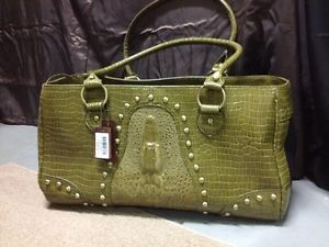 Green Faux Crocodile Leather Pet Carrier Small Dog Cat Airline Tote Purse Bag