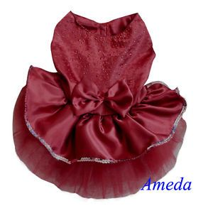 Red Wine Tutu Bling Bling Crystal Party Dress Small Pet Dog Cat Clothes XS s M L