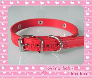 Leather Studded Puppy Pet Cat Dog Collar Small s Red