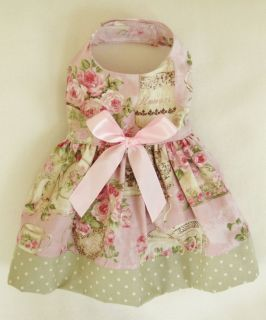 S New Tea Rose Baby Pink and Green Dog Dress Clothes Pet Apparel Small