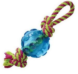 Small Dog Tough Mini Orka Ball w Dental Floss Rope Floating Bouncing Chew Toy
